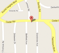 Map showing our location, the 12412 Cedar Rd. in Cleveland Heights, OH