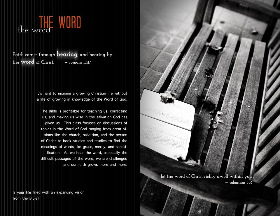 Image: pamphlet page showing a bible on a bench and text.