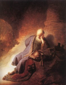 "Painting: ""Jeremiah lamenting the destruction of Jerusalem"" by Rembrandt via Wikimedia"